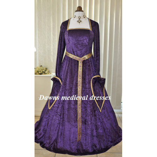 Purple Pagan Medieval Bridesmaid Goddess Dress
